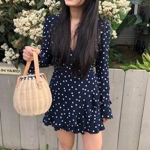 {zara} raffia straw bucket bag with strap
